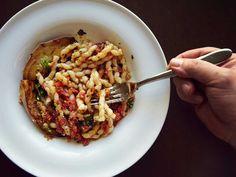 Corkscrew Pasta with Eggplant and Tomato-Basil Pesto (Busiate con Pesto alla Trapanese) Recipe | SAVEUR