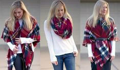 Learn how to wear a blanket scarf in different styles. Step by step to wrap blanket scarf, wear blanket scarf as shawl, cape style & more. How To Fold Scarf, How To Wear A Blanket Scarf, Ways To Wear A Scarf, Diy Scarf, Plaid Blanket Scarf, How To Wear Scarves, French Women Style, Family Picture Outfits, Langer Mantel