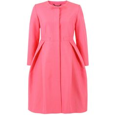 Orla Kiely OTM822 Solid Ottoman Peony Coat ($570) ❤ liked on Polyvore featuring outerwear, coats, jackets, coats & jackets, casacos, pink coat, red coat, orla kiely coat, pink bow coat and bow coat