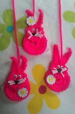 3 Hasen Osterhasen Anhänger pink Deko Ostern gehäkelt Handarbeit