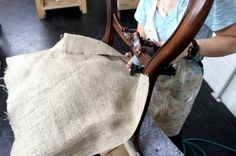 Stapling the burlap Modern Crafts, Old T Shirts, Permanent Marker, Upholstered Chairs, Couture, Messenger Bag, Burlap, Satchel, Furniture