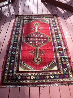 Vintage Hand Woven and Knotted  Mediterranean Style  Designed Area Rug with geometric and floral pattern with well developed frayed edges