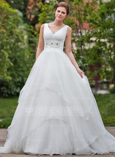 Ball-Gown V-neck Chapel Train Organza Wedding Dress With Ruffle Beading (002001267) - JJsHouse