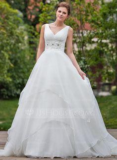 Ball-Gown V-neck Chapel Train Organza Wedding Dress With Ruffle Beading (002001267) - JJsHouse