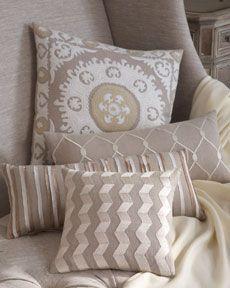 neutral linen pillows #textiles