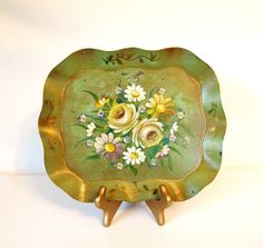 Vintage Shabby Green Handpainted Metal Tole Tray with Yellow Roses by HouseofLucien, $26.00