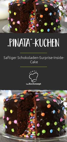 """Birthday cake Geburtstagskuchen """"Pinata"""" Like a real piñata: The juicy, delicious chocolate cake only shows its surprise when it is cut! Bolo Pinata, Pinata Cake, Chocolates, Cake Recipes, Snack Recipes, Cake Show, Tasty Chocolate Cake, Easy Smoothie Recipes, Cinnamon Cream Cheese Frosting"""