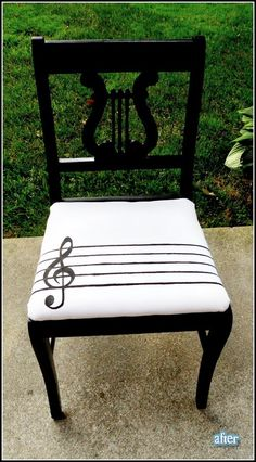 How fun! The back of the chair even looks like it would belong on a piano.  #diy #music