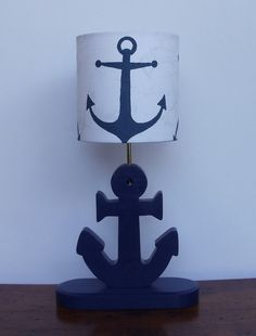 Anchor Lamp - Handmade Wooden Nautical Desk or Table Lamp - Great for Nursery, Child's Room or Nautical Theme