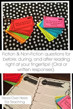 Guided Reading Questions for Fiction  Non-Fiction-use before, during, and after reading. Ready to use questions at your fingertips for any text!