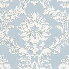 Victorian Damask on Silvery Blue Wallpaper Double Roll Bolts | eBay