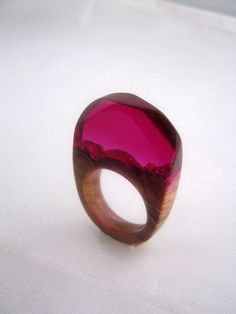 © Atelier de Jade old olive wood and resin ring