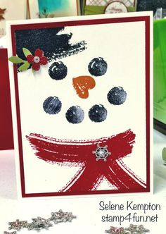 Create with Selene: Stampin Up Snowman and Work of Art Stamp Set
