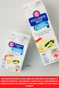 Eggland's Best Liquid Egg Whites are pasteurized, and therefore safe to enjoy uncooked in dressings, shakes, and similar uncooked uses. Complete Protein, Egg Whites, Egg Free, Nutrition Tips, Amino Acids, Recipe Using, Low Carb Recipes, Free Food, Dressings