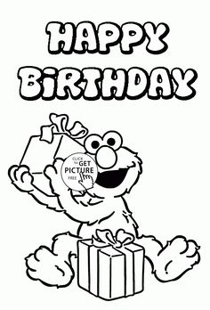 happy birthday with elmo coloring page for kids holiday coloring pages printables free wuppsy