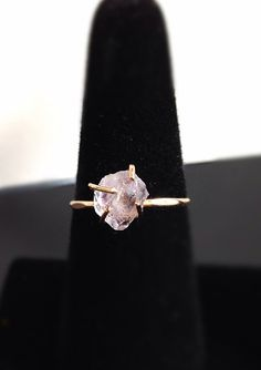 Love this as an enagament ring.  Unique, raw, simple yet elegant, feminine...nice!    Raw Cut Quartz Solitaire Gold Ring Engagement by camilaestrella