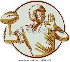 Etching engraving handmade style illustration of an american football gridiron quarterback qb throwing ball viewed from the side set inside circle on isolated background. - stock vector #football #sketch #illustration