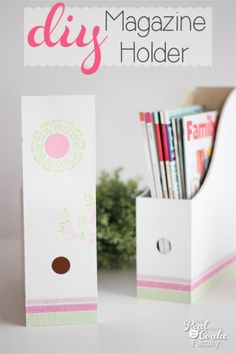 Make this adorable DIY magazine holder to help organize your magazines or catalogs in a cute way!
