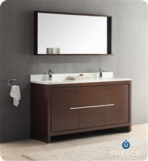 "Fresca Allier 60"" Modern Double Sink Bathroom Vanity - Wenge"