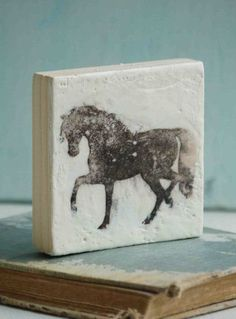 Black Stallion Horse Original Encaustic Mini Painting