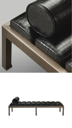 Promemoria's Gong Daybed, structure in bronze or hammered bronze. Mattress in leather.