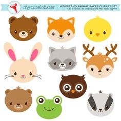 Woodland Animal Faces Clipart Set - cute animals, rabbit, deer, fox, frog, owl, faces - personal use, small commercial use, instant download