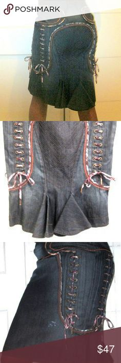 """Denim Just Cavalli Skirt Size 8 Denim Just Cavalli Denim Skirt. Stunning Condition...Sexy and Sweet ! Total Length: 22"""" Waist: 31"""" Hips: 36"""" Peplum Back Hem Contrasting Orange Stitching Plaid Lace Up Details on Sides of Front and Back...Just Cavalli on Metal Tips of Lace up Ties 2 Added Distress Marks on Front Such a Cool Sexy Form Fitting Skirt. Side Zipper Closure...Just Cavalli on Zipper Size 8 / Euro Size 42 100% Cotton Just Cavalli Skirts Midi"""