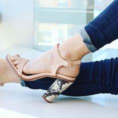 Nude Open Toe Snake Block Heel Sandals