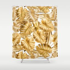 Gold Leaves Aloha Tropical Foliage Pattern Shower Curtain