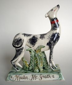 """Master McGrath"" by Terry Shone (earthenware with enamel, lustre and coloured glazes)"