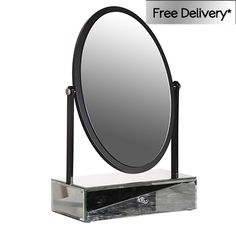Oval dressing table mirror black