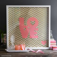 Framed Love Art by Lia Griffith  {free template in post // coral paper with gold mini dots is from Paper Source}