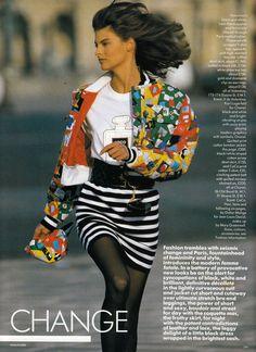 "Vogue UK March 1987 ""Paris Provocative Change"" Model: Linda Evangelista Photographer: Hans Feurer Hair: Didier Malige Makeup: Mary Greenwell"