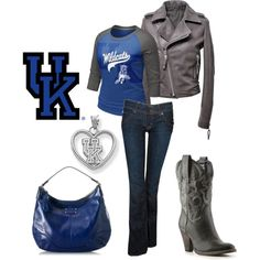 March Madness: Kentucky Wildcats, created by emilycolemcgary University Of Kentucky, Kentucky Wildcats, Go Big Blue, Blue And White, No Equipment Workout, Fitness Equipment, Training Equipment, March Madness, Passion For Fashion