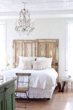 Such an inspiration; Make a headboard out of two (or one gigantic) old doors. DIY