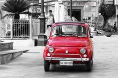 Little red vintage fiat 500 Cilento Italy #TuscanyAgriturismoGiratola