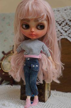 Lou-Lou Blythe doll pink  custom blythe doll Blythe OOAK