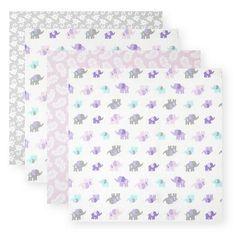 """Koala Baby 4 Pack Flannel Receiving Blankets - Purple Elephant - Koala Baby - Babies """"R"""" Us"""