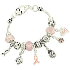 Pink Ribbon Charm Bracelet BW Clear Crystal Pink Murano Glass Beads Hope Faith Silver Tone Recyclebabe Bracelet http://www.amazon.com/dp/B00YCULDF0/ref=cm_sw_r_pi_dp_SMFzvb01D2G3D