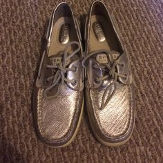 Gold Sperry's Great condition. I bought from another posher and didn't wear them like I hoped I would. They've hardly been worn so they are basically brand new. No flaws on them. Will sell cheaper on merc Sperry Top-Sider Shoes