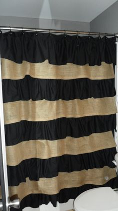 Burlap and Cotton Ruffle Shower Curtain.  I want for my bathroom.  @Randi Collins do you think you could make this???