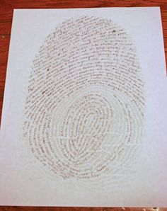 Creative writing fingerprint idea- good for a mystery or detective short story!