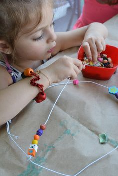 Beaded wire sculptures. This is a simple and really engaging art activity for kids