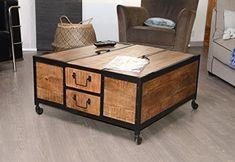 Table basse bois métal design petit modèle | Salons