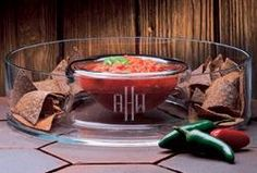 Monogrammed Acrylic/Lucite Chip-n-Dip Bowl