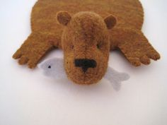 *love the addition of the fish!!!*  Bear Rug Coaster with Fish copper with bluegray fish by dandyrions, $17.00