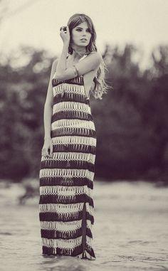 Anna Kosturova #handmade #crochet Bardot Maxi #boho | nicdelmar.com
