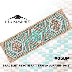 Peyote bracelet pattern, peyote pattern, stitch pattern, pdf file, pdf pattern, #058P