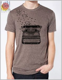 Writer's Retro Tee Freedom of Speech Vintage Typewriter with Birds flying from t shirt Men's Women's Unisex American Apparel shirt by FullSpectrumApparel on Etsy https://www.etsy.com/listing/156551964/writers-retro-tee-freedom-of-speech