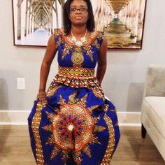 Blue African Dashiki Maxi Dress US Size 8-10